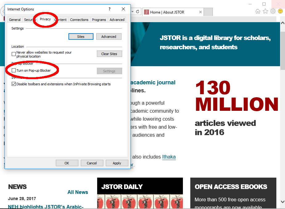 Troubleshooting: Pop-Up Blockers – JSTOR Support Home