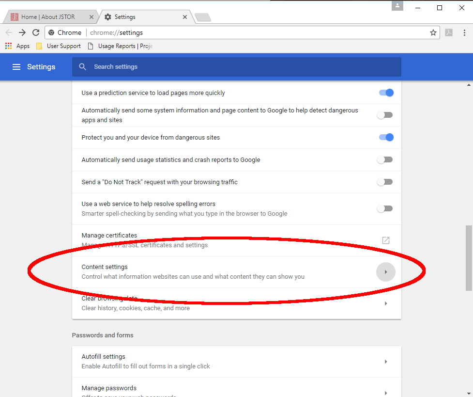 Advanced options area of Chrome settings page.