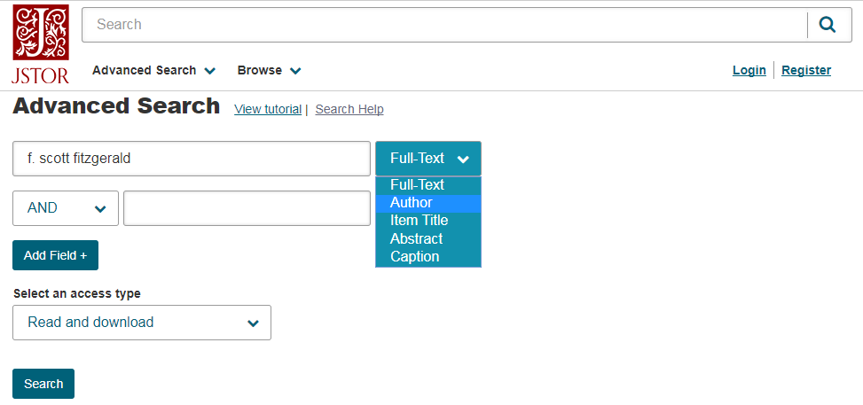 Advanced search screen with Author selected in first dropdown menu