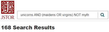 Search results screen showing 168 results for terms: unicorns AND (maidens OR virgins) NOT myth