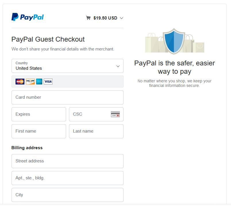 PayPal checkout screen