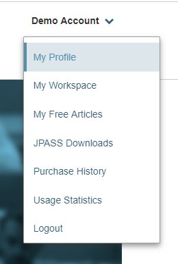 Profile drop-down menu