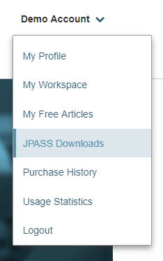 User menu with JPASS Downloads selected