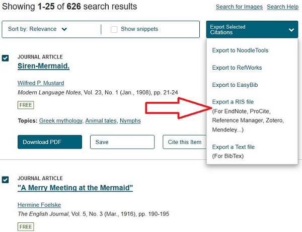 Export citations menu on search results page