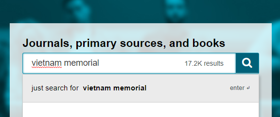 search box with vietnam memorial search query