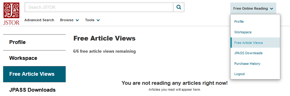 Free Article Views screen, user dropdown menu also shows Free Article Views as a selection