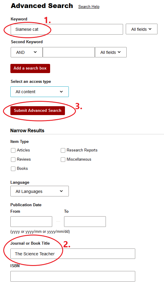 search with keyword and journal title